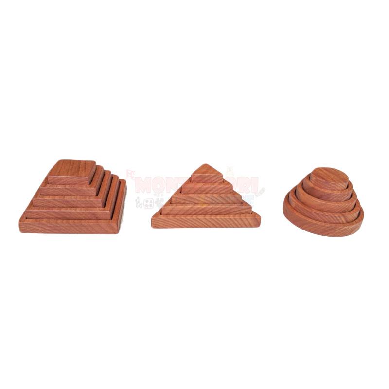 Wooden Interlocking Pyramids Set (circle-square-triangle)