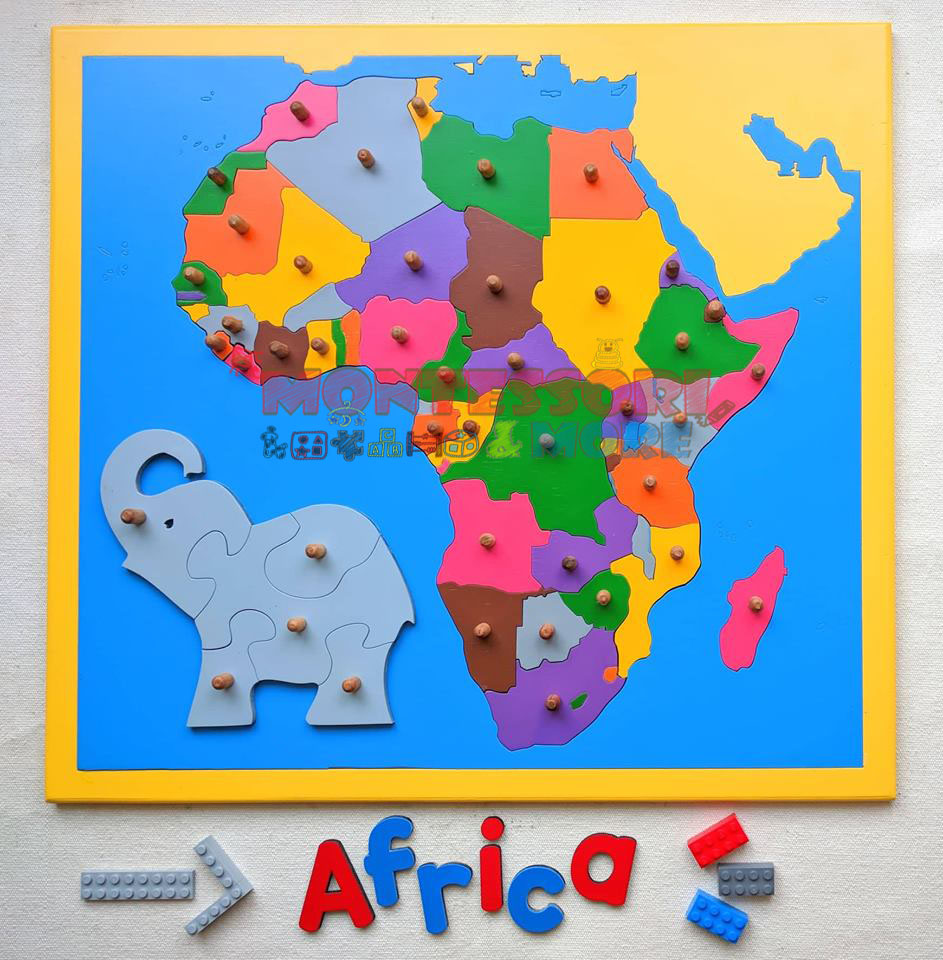 Africa Map Puzzle with Control Maps- Montessori