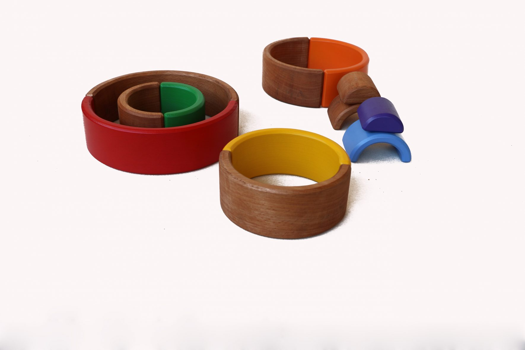 wooden with colored rainbow