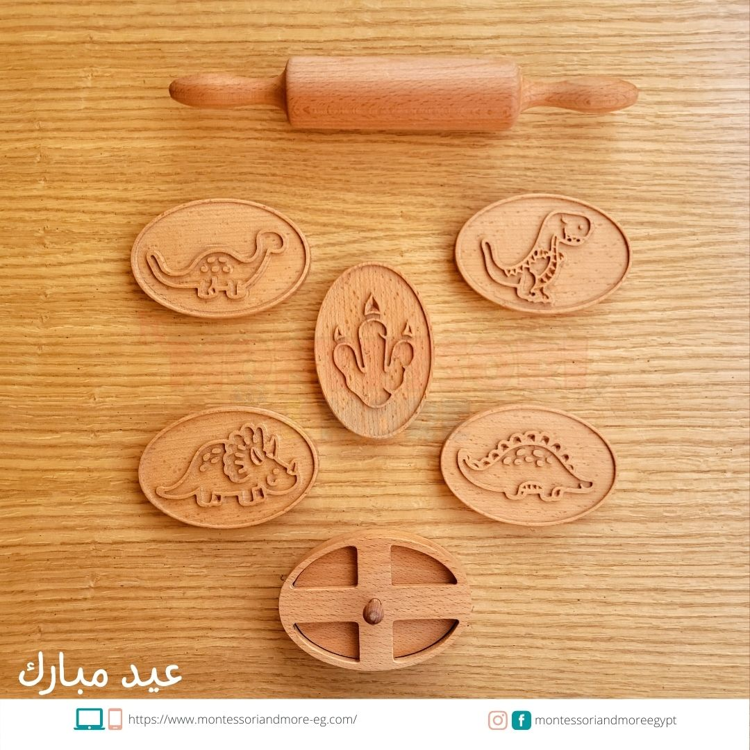 Dinosaur Baking Stamps set with rolling pin